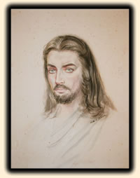 "Image of th original painting of Christ's portrait, painted by Feodor Rimsky for the book cover of ""The Greates Story Ever Told"" by Fulton Oursler."
